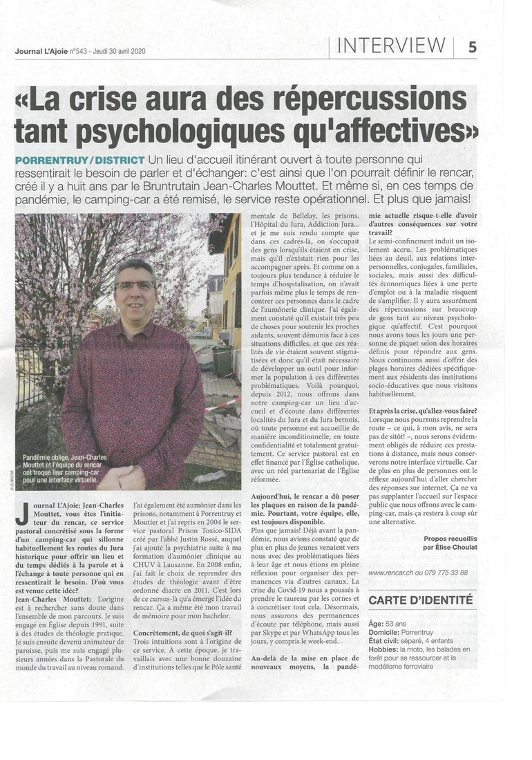 Journal l'Ajoie 30 avril 2020